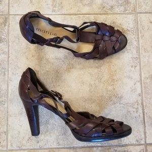Maripe Shoes - Maripe Good Condition Leather Brown Heel Sandals